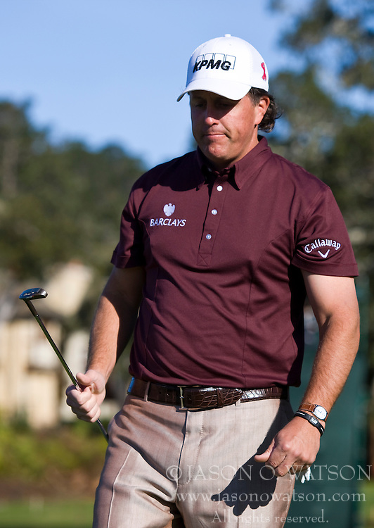 February 14, 2010; Pebble Beach, CA, USA;  Phil Mickelson on the third hole during the final round of the AT&T Pebble Beach Pro-Am at Pebble Beach Golf Links.
