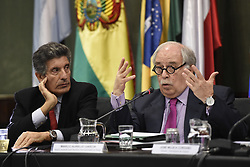 MONTEVIDEO, Aug. 5, 2015  Secretary General of the Latin American Integration Association (ALADI) Carlos Alvarez (L) and Special Advisor for International Affairs of Brazil Marco Aurelio Garcia (R) take part in the conference ''The integration prospects viewed from Brazil and Uruguay'', in the seat of the ALADI, in Montevideo, capital of Uruguay, on August 4, 2015. (Xinhua/Nicolas Celaya) (Credit Image: © [E]Nicolas Celaya/Xinhua via ZUMA Wire)