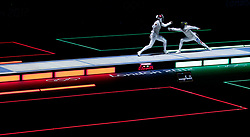 File photo dated 28-07-2012 of Italy's Elisa Di Francisca (right) lands a hit on Italy's Arianna Errigo during their women's foil gold medal bout at the ExCel Arena, London.