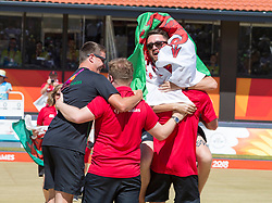 Handout photo provided by Jeff Holmes of Wales' Men's Pairs, Danny Salmon and Marc Wyatt celebrate gold in the Lawn Bowl during day five of the 2018 Commonwealth Games in the Gold Coast, Australia.