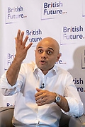 Sajid Javid MP discussing the challenges of identity in British society today, in conversation with Sunder Katwala, Director of thinktank British Future at The Royal Society on 6th June 2019 in London, United Kingdom.  Home Secretary Sajid Javid is the first British Asian politician to hold one of the great offices of state. He has declared that he will be a candidate to be the next Prime Minister in the forthcoming Conservative leadership election.