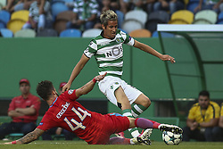 August 15, 2017 - Lisbon, Portugal - Sporting defender Fabio Coentrao (R) vies with Steaua Bucuresti defender Gabriel Enache during the UEFA Champions League  football match between Sporting CP and Steaua Bucuresti at Alvalade  Stadium in Lisbon on August 15, 2017. (Credit Image: © Carlos Costa/NurPhoto via ZUMA Press)