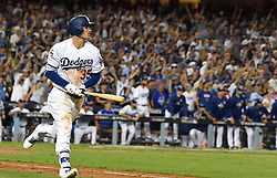 October 25, 2017 - Los Angeles, California, U.S. - Los Angeles Dodgers' Cody Bellinger during game two of a World Series baseball game against the Houston Astros at Dodger Stadium on Wednesday, Oct. 25, 2017 in Los Angeles. Houston Astros won 7-6 in 10 innings. (Photo by Keith Birmingham, Pasadena Star-News/SCNG) (Credit Image: © San Gabriel Valley Tribune via ZUMA Wire)