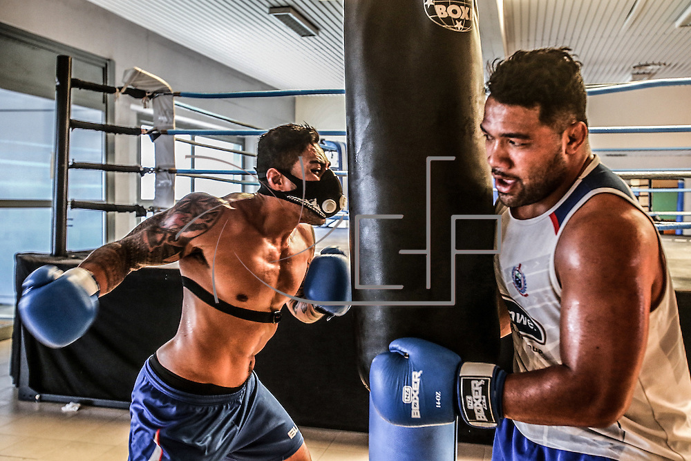 Roma 07/09/2015 Caserma S.Gelsomini<br /> Manu Samoa rugby team during a gym sessione preparing the 2015 rugby world cup