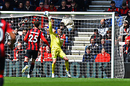 Mark Travers (42) of AFC Bournemouth makes a save from  Lucas Moura (27) of Tottenham Hotspur during the Premier League match between Bournemouth and Tottenham Hotspur at the Vitality Stadium, Bournemouth, England on 4 May 2019.