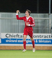 Aberdeen's Shaughnessy celebrates after scoring their first goal.<br /> Falkirk 0 v 5 Aberdeen, the third round of the Scottish League Cup.<br /> ©Michael Schofield.
