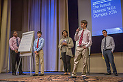 Purchase, NY – 31 October 2014. The team from White Plains High School presenting. (Left to right: Frank Marte,  Matthew Garrison, Alisa  Chaibay, Robert Lovitch,  Ross Van Doron.) White Plains High School went on to take first place in the 2014 competition. The Business Skills Olympics was founded by the African American Men of Westchester, is sponsored and facilitated by Morgan Stanley, and is open to high school teams in Westchester County.