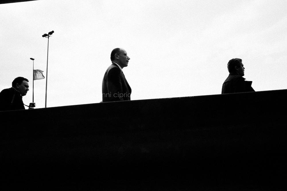 CAPACI - 23 MAGGIO 2013: Il Presidente del Consiglio Gianni Letta giunge sull'autostrada A29 per la commemorazione di Giovanni Falcone il 23 maggio 2013.