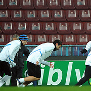 Inter Milan's Japan defender Yuto Nagatomo (R) seen during their training at the Avni Aker Stadium at Trabzon Turkey on Monday, 21 November 2011. Ahead of their Champions League match against Trabzonspor on November 22. Photo by TURKPIX