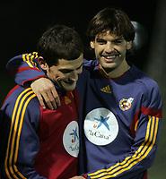 Photo: Paul Thomas.<br />Spain training session. 05/02/2007.<br /><br />Former Liverpool striker Fernando Morientes (R) and Real Madrid keeper Ilker Casillas share a joke during training.