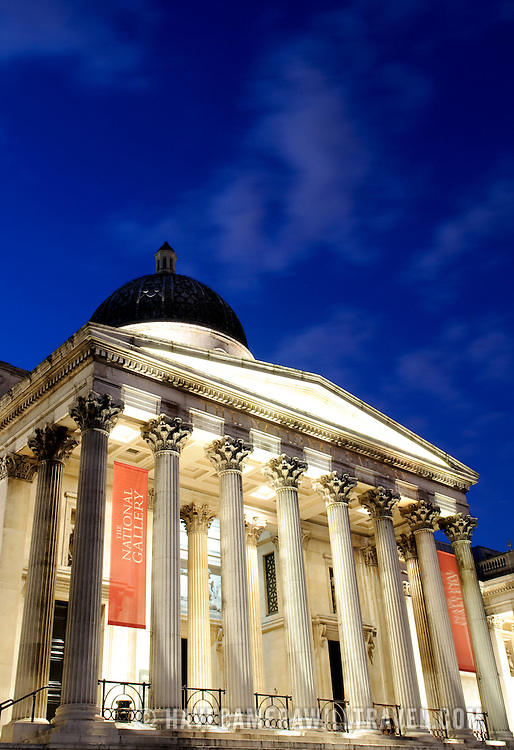 The National Gallery on Trafalgar Square at night
