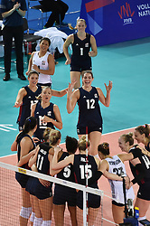 JIANGMEN, June 5, 2018  Players of the United States celebrate after winning the match against Russia at FIVB Volleyball Nations League 2018 in Jiangmen City, south China's Guangdong Province, June 5, 2018. Team USA won the match 3-0. (Credit Image: © Liang Xu/Xinhua via ZUMA Wire)