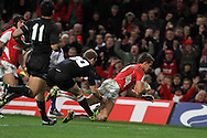 Lee Byrne dives over for the Welsh try. Invesco Perpetual match, Wales v New Zealand at the Millennium stadium in Cardiff on Sat 27th Nov 2010.  pic by Andrew Orchard, Andrew Orchard sports photography,