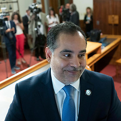 State Rep. Eddie Morales, Jr., D-Eagle Pass, speaks to the media about his reasons for staying in Austin as the House attempts to get a quorum of members the day after most Democratic members left the state in protest of restrictive voting rights bills under consideration in the 87th Legislature. Less than the required 2/3 members showed up so the chamber cannot legally conduct business.