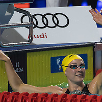 Sarah Sjoestroem of Sweden celebrates after winning the Women's 50m Freestyle final at the FINA Champions Swim Series at the Danube Arena in Budapest, Hungary on May 12, 2019. ATTILA VOLGYI