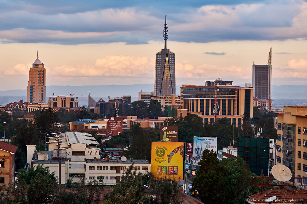 The Nairobi Skyline, photographed from the rooftop terrasse of the 4 points by Sheraton hotel.