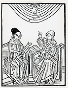 Astronomer and philosopher-theologian engaged in discussion. Woodcut of 1490.