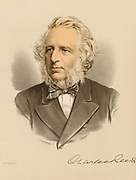 'Charles Reed  (1819-1881) English typefounder, Liberal politician and philanthropist, Member of Parliament for Hackney 1868-1874, Chairman of the London School Board.  Tinted lithograph c1880.'