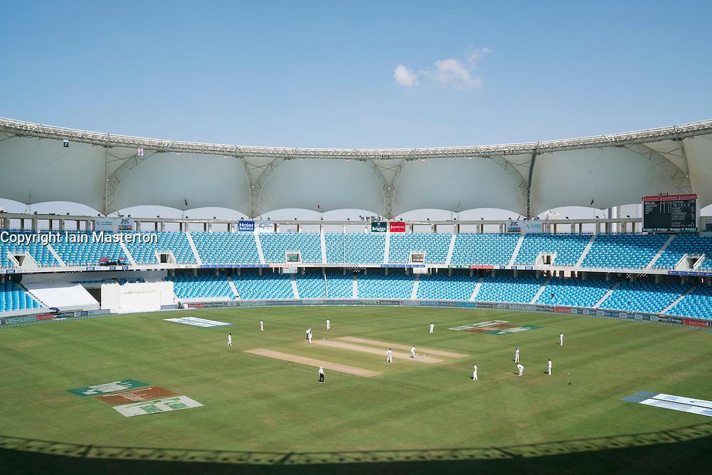 View of cricket Test Match between England and Pakistan in October 2015 at Dubai International Cricket Stadium in Dubai United Arab Emirates