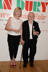 SIR PETER & LADY BLAKE at a private view of the late Ian Dury's artwork entitled Ian Dury: More Than Fair – Paintings, drawings and artworks, 1961–1972 held at the Royal College of Art, Kensington Gore, London SW7 on 22nd July 2013.