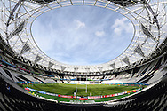 a General view of inside the Olympic Stadium as preparations are underway before k/o of tonight's match. Rugby World Cup 2015 pool C match, New Zealand v Namibia at Olympic Stadium in London on Thursday 24th September 2015.<br /> pic by John Patrick Fletcher, Andrew Orchard sports photography.
