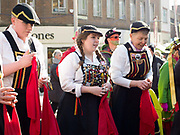 Briggate Morris dancing side performing at the Wakefield Rhubarb festival in Yorkshire, UK on 24th February 2018.  Briggate are a womens North West Clog morris team based in Leeds.
