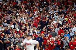 October 5, 2017 - Cleveland, OH, UKR - Cleveland Indians fans explode after a Jay Bruce double against the New York Yankees in the second inning during Game 1 of the American League Division Series on Thursday, Oct. 5, 2017, at Progressive Field in Cleveland. Bruce scored on a Roberto Perez ground out later in the inning. (Credit Image: © Phil Masturzo/TNS via ZUMA Wire)