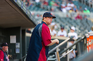 Kyle Gibson #44 of the Minnesota Twins talks in the dugout before a game against the Kansas City Royals on June 27, 2013 at Target Field in Minneapolis, Minnesota.  The Twins defeated the Royals 3 to 1.  Photo by Ben Krause