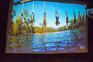"""Merrick, New York, USA. 11th June 2017.  During """"American Grit"""" Season 2 premiere, (2nd from right in blue swim trunks) CHRIS EDOM, 48, of Merrick, is one of 17 contestants suspended from beams above lake water during an endurance challenge. Show was projected on large screen during Edom's backyard Viewing Party for Episode 1 of FOX network reality television series. Edom was last contestant picked for a team that episode."""