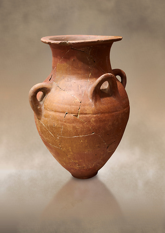 Hittite terra cotta four handled pot. Hittite Empire, Alaca Hoyuk, 1450 - 1200 BC. Alaca Hoyuk. Çorum Archaeological Museum, Corum, Turkey. Against a warm art bacground. .<br />  <br /> If you prefer to buy from our ALAMY STOCK LIBRARY page at https://www.alamy.com/portfolio/paul-williams-funkystock/hittite-art-antiquities.html  - Alaca Hoyuk into the LOWER SEARCH WITHIN GALLERY box. Refine search by adding background colour, place,etc<br /> <br /> Visit our HITTITE PHOTO COLLECTIONS for more photos to download or buy as wall art prints https://funkystock.photoshelter.com/gallery-collection/The-Hittites-Art-Artefacts-Antiquities-Historic-Sites-Pictures-Images-of/C0000NUBSMhSc3Oo
