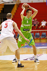 Matej Rojc of Slovenia basketball national team in action against Hungary during Trofej Beograd tournament third place match at Pionir arena  in Belgrade, Serbia on August 9th 2012.Foto: Marko Metlas / MN Press / Sportida.com