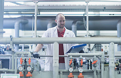 Male engineer working in industry, Hanover, Lower Saxony, Germany