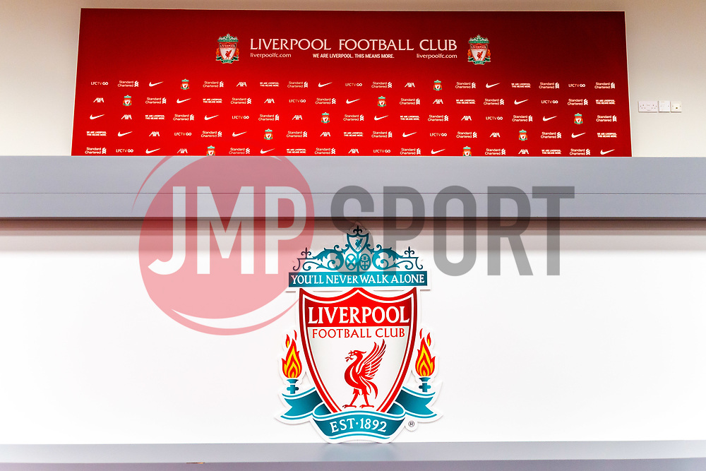 The interview area at Anfield, home to Liverpool - Mandatory by-line: Ryan Crockett/JMP - 02/10/2020 - FOOTBALL - Anfield - Liverpool, England - Anfield General Views - GV's