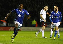 Leicester City's Lloyd Dyer celebrates the winning goal - Photo mandatory by-line: Matt Bunn/JMP - Tel: Mobile: 07966 386802 29/10/2013 - SPORT - FOOTBALL - King Power Stadium - Leicester City - Leicester City v Fulham - Capital One Cup - Forth Round