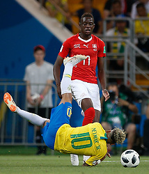 June 17, 2018 - Rostov Do Don, Rússia - ROSTOV DO DON, RO - 17.06.2018: BRAZIL VS SWITZERLAND - Neymar Jr. of Brazil plays the ball with Denis Zakaria of Switzerland during a match between Brazil and Switzerland valid for the first round of group E of the 2018 World Cup, held at the Rostov Arena in Rostov on Don, Russia. (Credit Image: © Marcelo Machado De Melo/Fotoarena via ZUMA Press)