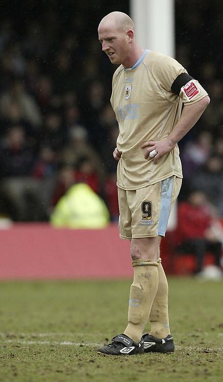 Photo: Aidan Ellis.<br /> Rotherham United v Bristol City. Coca Cola League 1. 25/03/2006.<br /> Bristol's Steve Brooker looks dejected as his side go three down