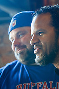 SHOT 12/10/17 12:08:02 PM - Former Buffalo Bills wide receiver and Hall of Fame player Andre Reed signs autographs and meets with fans at LoDo's Bar and Grill in Denver, Co. as the Buffalo Bills played the Indianapolis Colts that Sunday. Reed played wide receiver in the National Football League for 16 seasons, 15 with the Buffalo Bills and one with the Washington Redskins. (Photo by Marc Piscotty / © 2017)