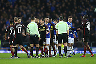 Manchester city players looking dejected at the final whistle. Premier league match, Everton v Manchester City at Goodison Park in Liverpool, Merseyside on Sunday 15th January 2017.<br /> pic by Chris Stading, Andrew Orchard sports photography.