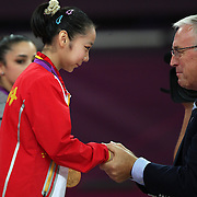 Linlin Deng, China, during her Gold Medal performance in the Women's Gymnastics Apparatus Beam final at North Greenwich Arena during the London 2012 Olympic games London, UK. 7th August 2012. Photo Tim Clayton