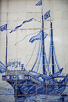 Chine, Macao, Azulejos de la Traversa do Meio, Jonque chinoise, de Georges Chinnery, 1837 // China, Macau, Tiles on the Traversa do Meio, Chinese Junk, from Georges Chinnery, 1837