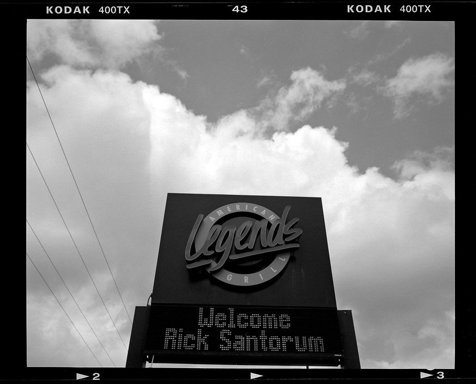 A sign welcomes former Senator of Pennsylvania and potential U.S. presidential candidate Rick Santorum at a meet and greet event in Marshalltown, Iowa. © Photo by Jim Young