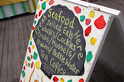 Seafood for sale on the pier at Hastings,