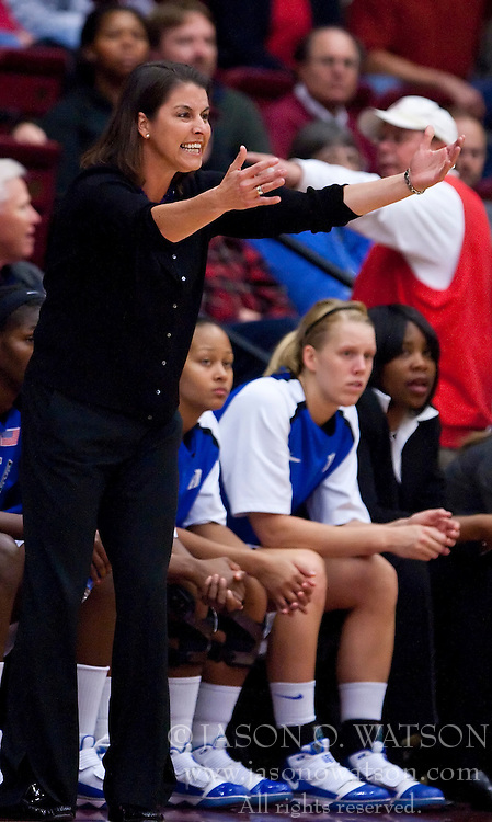 December 15, 2009; Stanford, CA, USA;  Duke Blue Devils head coach Joanne McCallie during the first half against the Stanford Cardinal at Maples Pavilion.  Stanford defeated Duke 71-55.