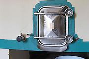 A trap door on one of the concrete fermentation tanks  Chateau Kirwan, Cantenac  Margaux  Medoc  Bordeaux Gironde Aquitaine France