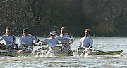 PUTNEY, LONDON, ENGLAND, 18.03.2006, Pre 2006 Boat Race Fixture, Cambridge UBC vs Leander BC. Leander's Matt Landridge fight to regaiin control of his blade after clashing with Cambridge during the race over the part of the Championship Course 4.1/4 mls from Putney to Mortlake.   © Peter Spurrier/Intersport-images.com..[Mandatory Credit Peter Spurrier/ Intersport Images] Varsity Boat Race, Rowing Course: River Thames, Championship course, Putney to Mortlake 4.25 Miles