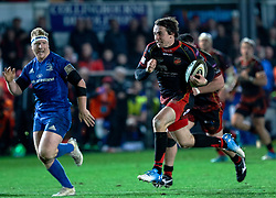 Rhodri Williams of Dragons races to score<br /> <br /> Photographer Simon King/Replay Images<br /> <br /> Guinness PRO14 Round 10 - Dragons v Leinster - Saturday 1st December 2018 - Rodney Parade - Newport<br /> <br /> World Copyright © Replay Images . All rights reserved. info@replayimages.co.uk - http://replayimages.co.uk
