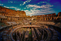 """""""Western entrance evening view of the Roman Colosseum""""…<br /> <br /> The Colosseum, is an elliptical amphitheater in the center of the city of Rome, the largest ever built during the Roman Empire. It is considered one of the greatest works of Roman architecture and Roman engineering in history.  Occupying a site just east of the Roman Forum, its construction started in 72 AD under the emperor Vespasian and was completed in 80 AD under Titus. Capable of seating 65,000 spectators, it was used for gladiatorial contests and public spectacles such as mock sea battles, animal hunts, executions, re-enactments of famous battles, and dramas based on Classical mythology. The building ceased to be used for entertainment in the early medieval era. It is one of Rome's most popular tourist attractions and still, has close connections with the Roman Catholic Church, as each Good Friday the Pope leads torch lit """"Way of the Cross"""" procession that starts in the area around the Colosseum.  The Colosseum is generally regarded by Christians as a site of the martyrdom of large numbers of believers during the persecution of Christians in the Roman Empire, as evidenced by Church history and tradition.  A Cross stands exultant in the Colosseum center with a plaque stating:  """"The amphitheater, one consecrated to triumphs, entertainments, and the impious worship of pagan gods, is now dedicated to the sufferings of the martyrs purified from impious superstitions.""""  In viewing many historical sites during my journey in Italy, seeing the iconic Colosseum for the first time…I became awestruck.   It is as grand in person as it appears in the media, and it seems to hold a very mystical aura.  Climbing the ancient steps inside, one cannot help but feel not only the suffering of its past but the forgiveness and sacrifice of its present stature."""
