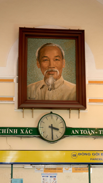 Vietnam, Ho Chi Minh City, Central Post Office, interior with portrait of Ho Chi Minh  hanging at the far end.