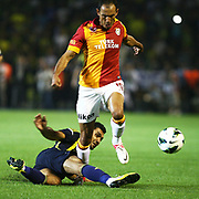 Fenerbahce's player and Galatasaray's player Umut Bulut during an attack their Turkish Super Cup 2012 soccer derby match Galatasaray between Fenerbahce at the Kazim Karabekir stadium in Erzurum Turkey on Sunday, 12 August 2012. Photo by TURKPIX