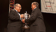 His Excellency The Hon Sir Anand Satyanand, (GNZM,QSO) presents Dawson Haa, Chairman of the Waipapa 9 trust,  with the trophy. 2010 Ahuwhenua Trophy  Bank of New Zealand Maori Excellence in Farming competition awards dinner held at the Taupo Event Centre, Taupo. Friday 28 May 2010.<br /> <br /> ***FREE FOR EDITORIAL USE***<br /> <br /> PHOTO COURTESY: ahuwhenuatrophy.co.nz